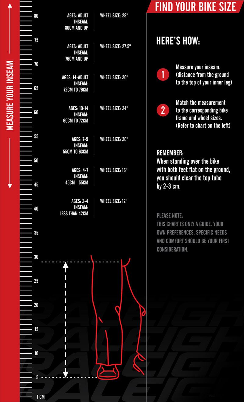 Raleigh Bicycle Size Chart